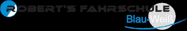 Logo: Roberts Fahrschule Blau Weiss