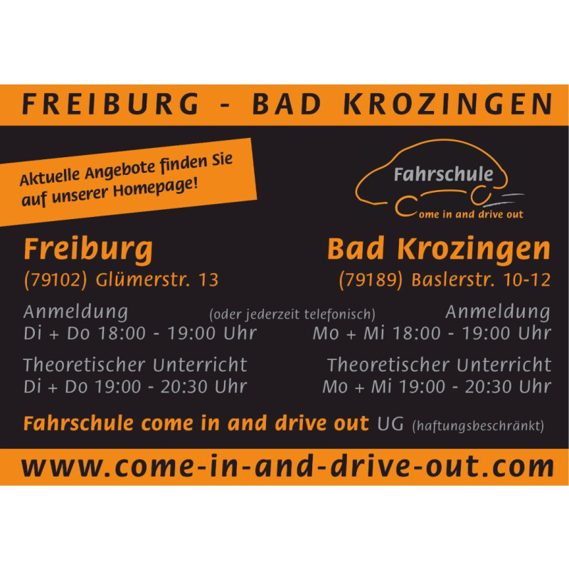 Logo: come in and drive out Fahrschule UG(haftungsbeschr.)